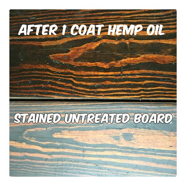 Results after hemp oil on rustic pine table.