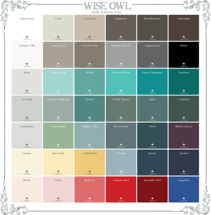 Choosing a color is the hardest part of painting with Wise Owl Chalk  Synthesis Paint! This blog will focus on the top selling and most adored  colors and ... - Top Trending Furniture Paint Colors- The Wise Owl's Guide To