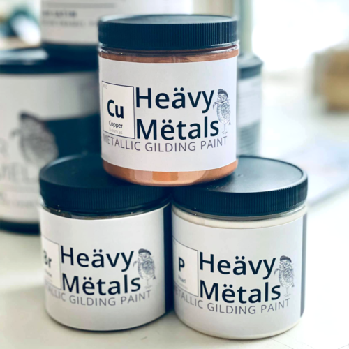 Use our Heävy Mëtals to get a metallic look on a whole piece, just the details, or refresh and renew old hardware. Most applications do not require a primer or sealant.